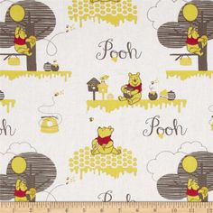 Disney Pooh Story of Hunney Scenic Cream from @fabricdotcom  Designed by Disney and licensed to Springs Creative Group, this cotton print is perfect for quilting, apparel and home decor accents.  Colors include cream, yellow, grey and red.<P><P>Due to licensing restrictions, this item can only be shipped to USA, Puerto Rico, and Canada.