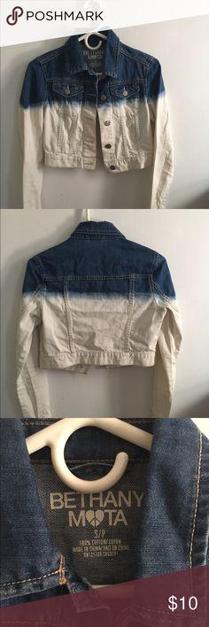 Ombré Jean Jacket Blue and white jean jacket, size small.  No trades  Fast shipping Bethany Mota Jackets & Coats Jean Jackets