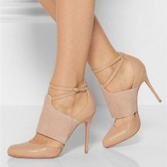 Nude Ankle Strap Heels Round Toe Stiletto Heel Pumps
