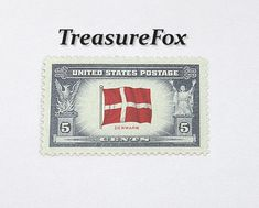 TEN 5c Flag of Denmark .. Unused US Postage Stamps .. From the Overrun Nations Series Issued in 1943 .. Pack of 10 stamps by TreasureFox on Etsy