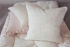Choose from two beautiful cushion styles designed and lovingly handmade by Clarabelle as part of our nursery collection for little ones from Peony & Sage Rabbit All Star Pink Linen. These cushions are have been beautifully handmade to the highest standards in our workshop and are in stock ready for delivery whilst stocks last as...