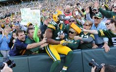 Game Photos: Packers vs. Jets | Randall Cobb. Love those Lambeau Leaps!!!