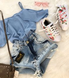 Cute Casual Outfits, Cute Summer Outfits, Short Outfits, Stylish Outfits, Teenage Outfits, Teen Fashion Outfits, Outfits For Teens, Womens Fashion, Mode Rockabilly