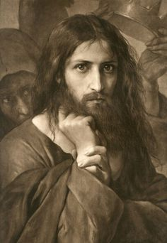 This is the first version of the painting Lord Jesus Christ by Georg Cornicelius. The reason He appears so severe, is that the devil, is behind Him, offering the kingdoms of the world. (This is often attributed to El Greco, on Pinterest, however, it is by Georg Cornicelius.)