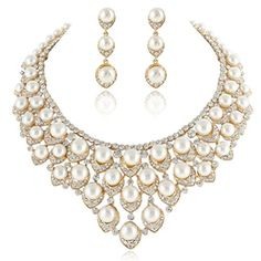 EVER FAITH GoldTone Austrian Crystal Ivory Color Simulated Pearl VShaped Cluster Jewelry Set Clear * Visit the image link more details.