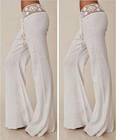 New summer trousers for women high waist chiffon white pants feminina 2016 loose pants wide leg pants women YZ Straight Trousers, Wide Leg Pants, Wide Legs, White Flare Pants, Flare Jeans, Pantalon Long, Lace Pants, Style Casual, Women's Casual