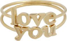 "Jennifer Meyer Gold ""Love You"" Ring Set on shopstyle.com"