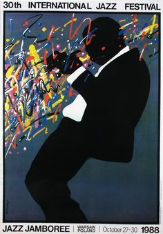 Jazz Jamboree 1988 / Polish Poster by Waldemar Świerzy Jazz Poster, Polish Posters, Jazz Art, Jazz Festival, Rock Posters, Grafik Design, Art Music, Vintage Posters, Illustrations Posters