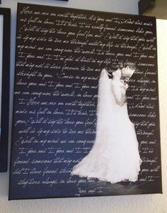 Photo of our first dance with our first dance song lyrics! My sister in law took the photo (Jen Lilly of Rega Photography), and had it made into a canvas!