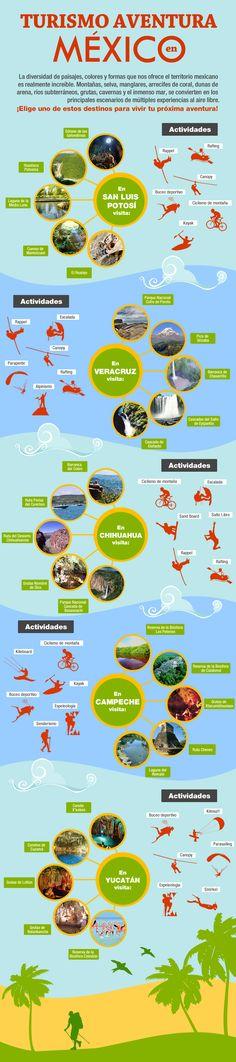 #TurismoAventura en #Mexico #Veracruz #SanLuisPotosi #Campeche #Chihuahua #Yucatan http://bit.ly/Tours-Mexico #Infografia #Infographic
