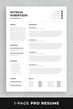 Professional resume / CV template set with one-page resume, cover letter and references in matching designs for a complete and consistent presentation. One Page Resume Template, Modern Resume Template, Business Plan Template, Cv Template, Creative Resume Templates, Professional Resume Template, Professional Cv, Templates Free, Resume Layout