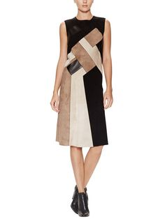 Mosaic Leather Patch Dress - Derek Lamb on Gilt!