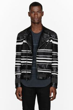 3.1 PHILLIP LIM Black embroidered stripe leather jacket