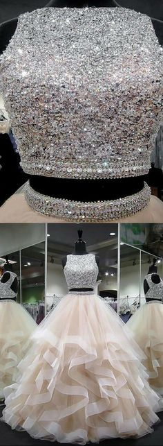 Champagne round neck tulle long prom dress, ball gown dress high heels mini Bit crazy up top with million or more jewels love bottom Cute Prom Dresses, 15 Dresses, Ball Dresses, Homecoming Dresses, Ball Gowns, Evening Dresses, Wedding Dresses, Dress Prom, Elegant Dresses