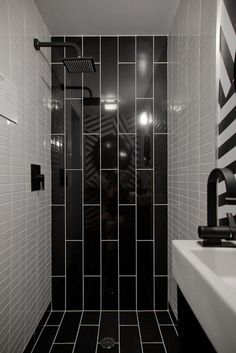 Bathrooms With Vertical Tile Black And White Bathroom Shower I Like The Subway Treatment From