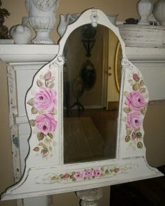 Vintage mirror with hand painted pink cottage roses.