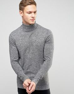 New Look | New Look Roll Neck Sweater In Gray (Size: S)