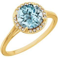 14k Gold Sky Blue Topaz and .05CTW Diamond Halo Ring