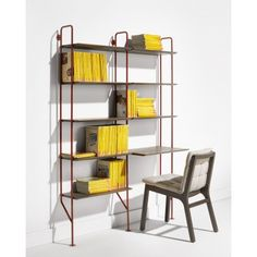 Hitch Modern Bookcase | Hitch Bookcase and Add-On Bookcase with Desk in FLW Red / Smoke