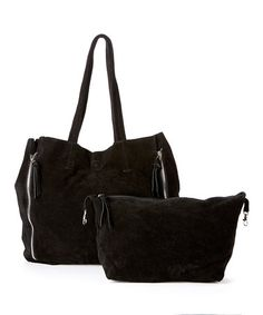 Loving this Black Myla Leather Zipper Tote on #zulily! #zulilyfinds