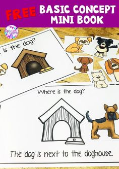 Create this great basic concept mini books that uses a dog theme. Your students will love this FREE activity. Preposition Activities, Speech Therapy Activities, Language Activities, Preschool Activities, Speech Language Therapy, Speech And Language, Receptive Language, Speech Pathology, Creative Curriculum