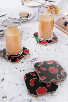 * Watermelon Pattern (Set of 4) Drink Coasters by #Gravityx9 at Society6 * Set of 4 Drink Coasters * This watermelon pattern is available on drink ware, serving trays, home decor, as well as fashion and carry-all bags. * Table Protectors * custom drink coaster * drink coaster set ideas * coasters gift ideas * kitchen accessory * coasters board * #drinkcoasters #tableprotectors #kitchenaccessory #coasters #inthekitchen #blackandred #KitchenDecor #DrinkCoasterSet #Watermelon 0721 Beach Supplies, Bar B Q, Camping Pillows, Watermelon Slices, Food Themes, Serving Trays, Drink Coasters, Kitchen Accessories, Coaster Set