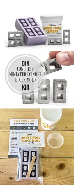 I love these miniature cinder blocks. With this kit I can pour my own cinder blocks for my desk. So cool. #commissionlink #concrete #cement #mold #cinderblock #miniature #diy #craft #decor