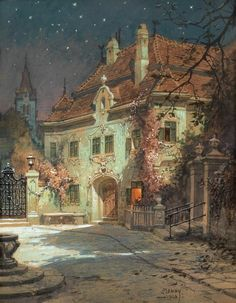 Georg Janny May 1864 → Vienna ← 21 February was an Austrian landscape painter & set designer.Night in the summer, 1926 Drawn Art, Illustration Art, Illustrations, Nocturne, Beautiful Paintings, Summer Nights, Oeuvre D'art, Traditional Art, Collage Art