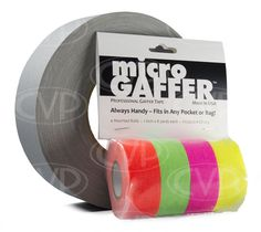 Visual Departures microGAFFER tape (Micro Gaffer Tape) (4 pack) 1-inch Wide x 8 Yards Long - 1 Orange, 1 Green, 1 Pink, 1 Yellow