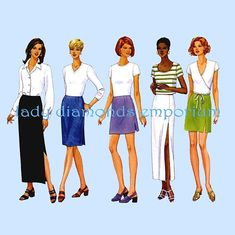 A Butterick 5390 Womens Sexy Side Slit Skirts Mini Midi Maxi