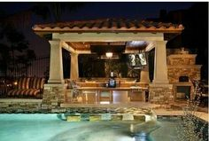 My dream pool has a swim up bar (and cabana boy) Outdoor Kitchen Plans, Outdoor Kitchen Design, Outdoor Kitchens, Diy Design, Design Ideas, Modern Design, Outdoor Spaces, Outdoor Living, Outdoor Life