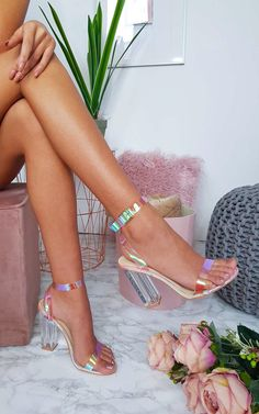 2455ebd4379 Bailey Iridescent Barely There Block Heels