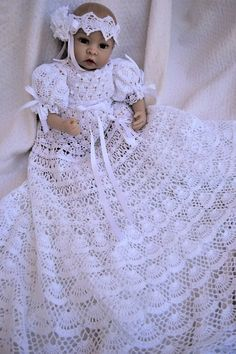 crochet pattern of baby Andrea christening gown, thread crochet christening gown, blessing gown pattern, baptism crochet pattern,