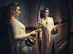 """Killing Eve"" star Jodie Comer surprises herself with an Emmy win in a stellar drama-actress field that included co-star Sandra Oh. Detective, Sandra Oh, Jodie Comer, The Emmys, Bbc America, Executive Producer, Celebs, Celebrities, Powerful Women"