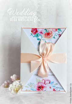 Купить Приглашение на свадьбу - кремовый, персиковый, бежевый, приглашения на свадьбу, пригласительные, приглашение