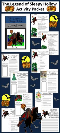 The Legend of Sleepy Hollow Activity Packet: This colorful packet is intended to be used with the Junior Classic version of Washington Irving's famous tale.  Contents Include: * 14 reading comprehension quizzes (1 per chapter) * Four Sleepy Hollow character sketch worksheets * One Sleepy Hollow story analysis worksheet * One Sleepy Hollow event sequencing worksheet * One creative writing prompt - What Really Happened? * Answer keys for all for all Sleepy Hollow Worksheets