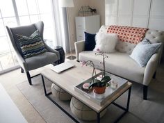 Elton Settee and Box Frame Coffee Table from West Elm in Jessica's Princeton Living Room