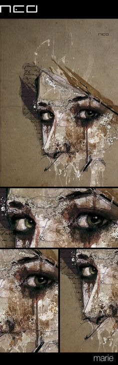 'Marie', mixed media using bic pen, watercolors and Chinese ink | Florian Nicolle