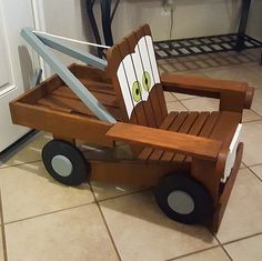 We needed a little c hair for the kids to sit in when they want to lounge. it is based on an adirondack and modified from there to look like Mater from the hit movie, Cars.