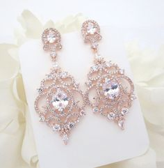 Rose Gold Bridal earrings, Rose Gold Chandelier earrings, Wedding earrings, Wedding jewelry, CZ earrings, Wedding accessories, Bridesmaid by TheExquisiteBride on Etsy https://www.etsy.com/listing/246297266/rose-gold-bridal-earrings-rose-gold