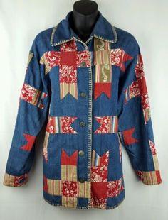SUSAN-BRISTOL-Small-Denim-Chambray-Floral-Patchwork-Barn-Coat-Jacket-Oversized
