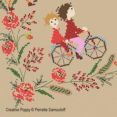 Bannière aux coquelicots, grille de broderie, création Perrette Samouiloff: