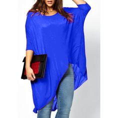 $9.76 Casual Scoop Neck Solid Color High-Low Hem Plus Size 3/4 Sleeve T-Shirt For Women