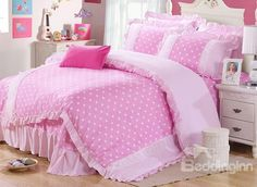 Polka Dots Pattern 4 Piece Organic Cotton Duvet Cover Sets  on sale, Buy Retail Price Girls Bedding Sets at Beddinginn.com