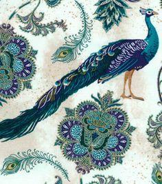 Two Daughters Premium Quilt Cotton Fabric 43''-Majestic Peacock Main