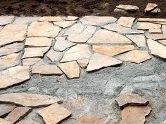 Naturstein pflastern mit Sand-Zement-Gemisch