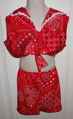 Wolff Fording & Co. Red Kerchief Style Dance Costume Tap Sz 2 Pc Medium Child JB #WolffFordingCompany