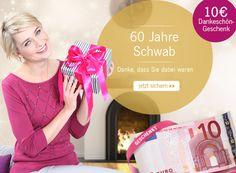 Als Dankeschön zu #60JahreSchwab gibt es für Sie den #10€ #Gutschein von uns. Geben Sie dafür einfach den Code 52999 ein!