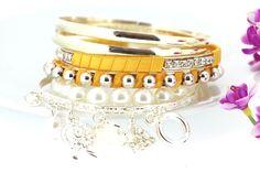 Shiny Humanface Pattern Multilayer Charm Yellow Bracelets for Women