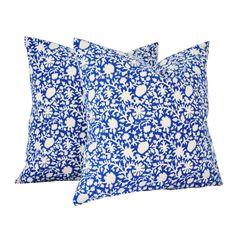 Kalamkari Blue Pillow Cover - Rising Tide Fair Trade - $40.49 - domino.com